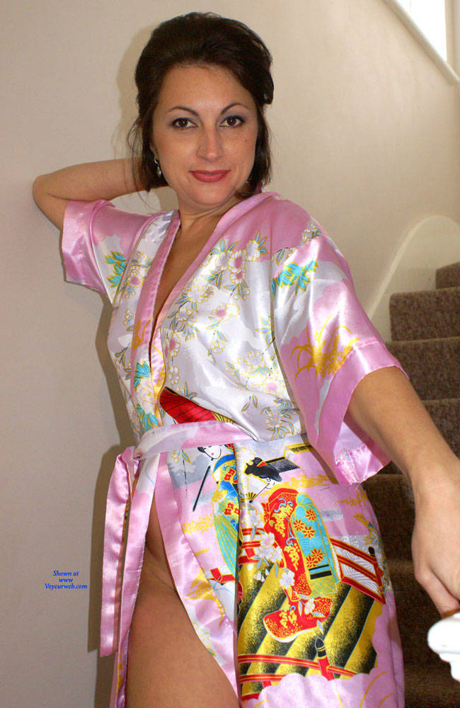 Pic #1 Anna - Chinese Robe On The Staircase - Brunette, Amateur