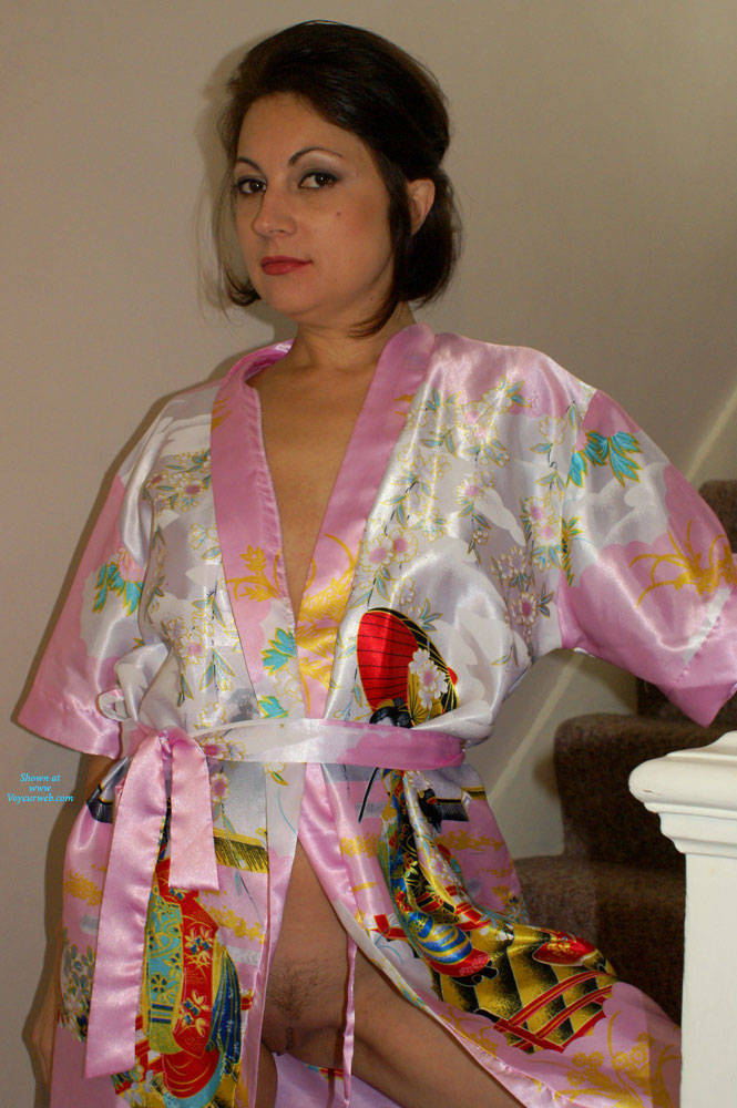 Pic #2 Anna - Chinese Robe On The Staircase - Brunette, Amateur