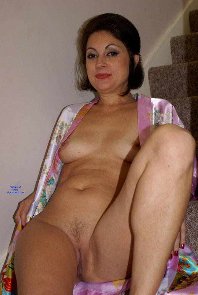 Pic #8 Anna - Chinese Robe On The Staircase - Brunette, Amateur