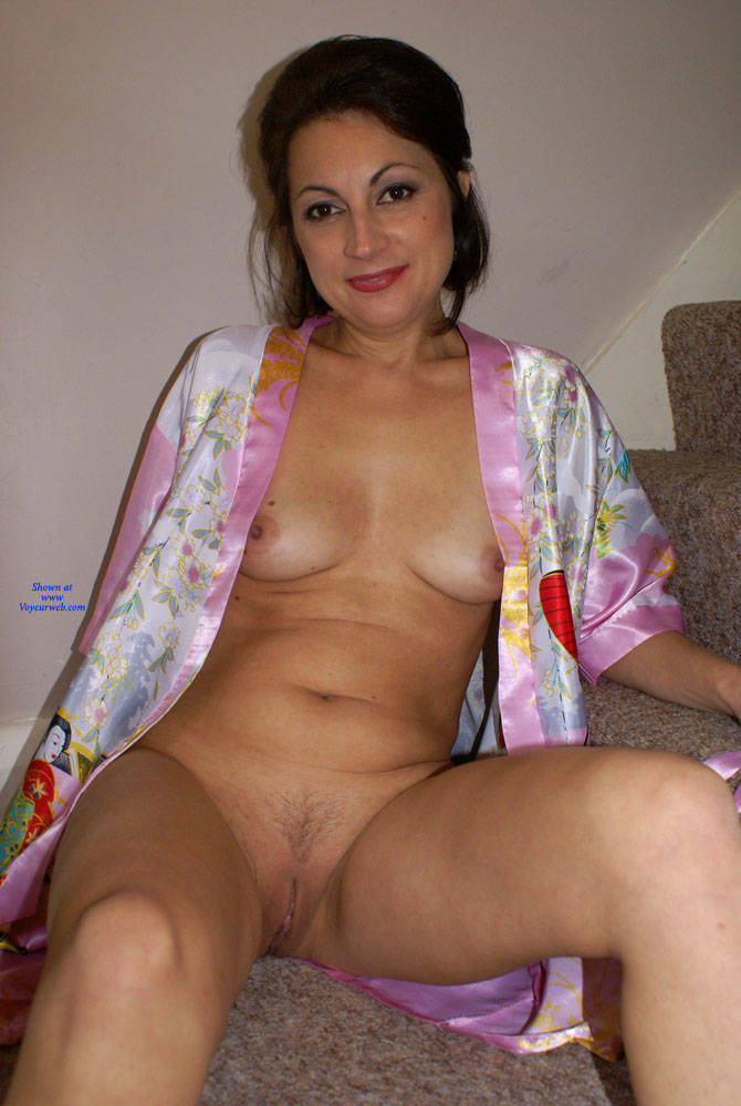 Pic #9 Anna - Chinese Robe On The Staircase - Brunette, Amateur
