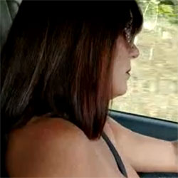 Lisa Driving With Tits Out 2 - Topless Girls, Big Tits, Brunette, Amateur