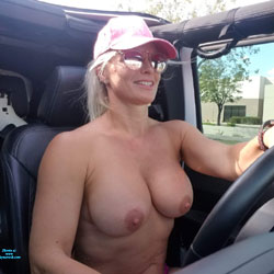 Top(s) Off - Driving Me Crazy - Big Tits, Blonde Hair, Exposed In Public, Topless Girl, Amateur