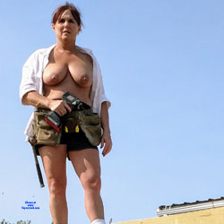 Construction Helper - Big Tits, Brunette, Mature, Outdoors, Amateur, Body Piercings