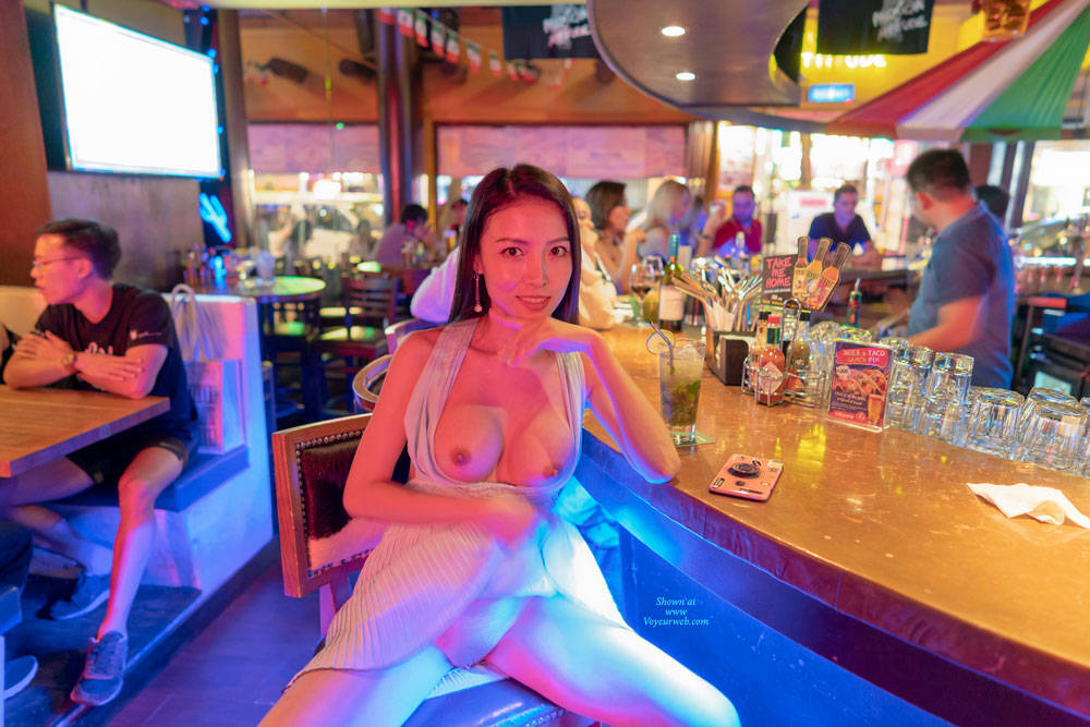 Pic #6 Flashing My Pussy And Tits In Restaurants - Brunette, Public Exhibitionist, Flashing, Public Place, Shaved, Amateur