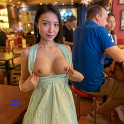Flashing My Pussy And Tits In Restaurants - Brunette, Public Exhibitionist, Flashing, Public Place, Shaved, Amateur