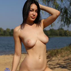 Near The Lake - Big Tits, Brunette Hair, Nude Outdoors, Shaved, Beach Voyeur, Naked Girl, Amateur