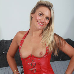 Hot Blonde In Red Corset - Blonde Hair, Firm Tits, Flashing Tits, Flashing, Nipples, Small Breasts, Small Tits, Tattoo, Sexy Face, Sexy Legs