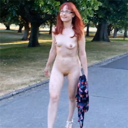 Brave Walk - Nude Girls, Public Exhibitionist, Flashing, High Heels Amateurs, Outdoors, Public Place, Redhead, Medium Tits, Shaved