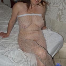 Jessica In White Fishnet Bodystocking - Big Tits, Lingerie, Mature, Amateur