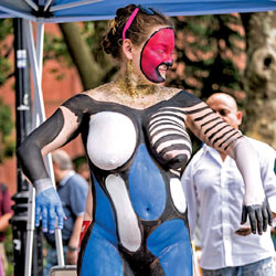 Nude Body Painting - Artistic Nude, Big Tits, Full Nude, Huge Tits, Large Breasts, Naked Outdoors, Nude In Public, Nude Outdoors, Sexy Legs