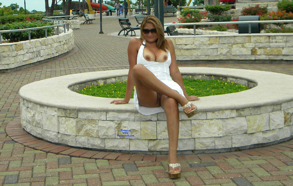Pic #7 Opening The Legs In The Gazebo - Big Tits, Public Exhibitionist, Flashing, Outdoors, Public Place, Wife/wives, Shaved, Amateur