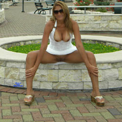 Opening The Legs In The Gazebo - Big Tits, Public Exhibitionist, Flashing, Outdoors, Public Place, Wife/Wives, Shaved, Amateur