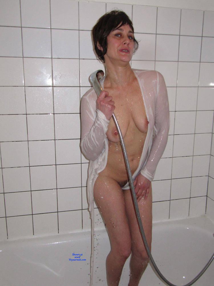 Pic #4 Bathroom - Big Tits, Brunette, Bush Or Hairy, Amateur