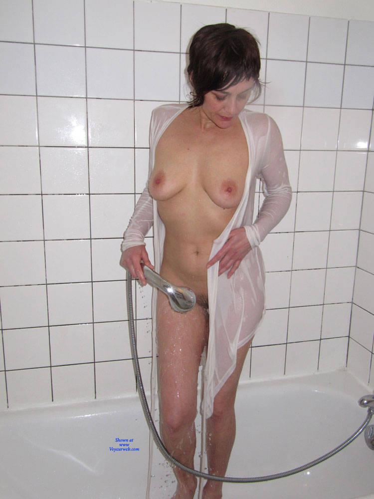 Pic #5 Bathroom - Big Tits, Brunette, Bush Or Hairy, Amateur