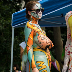 Body Painting - New York City, Example Six  - Nude Girls, Big Tits, Brunette, Outdoors