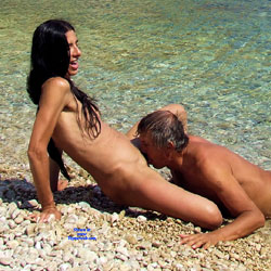 Public Beach Face Sitting And Pussy Eating - Nude Amateurs, Beach, Brunette, Outdoors