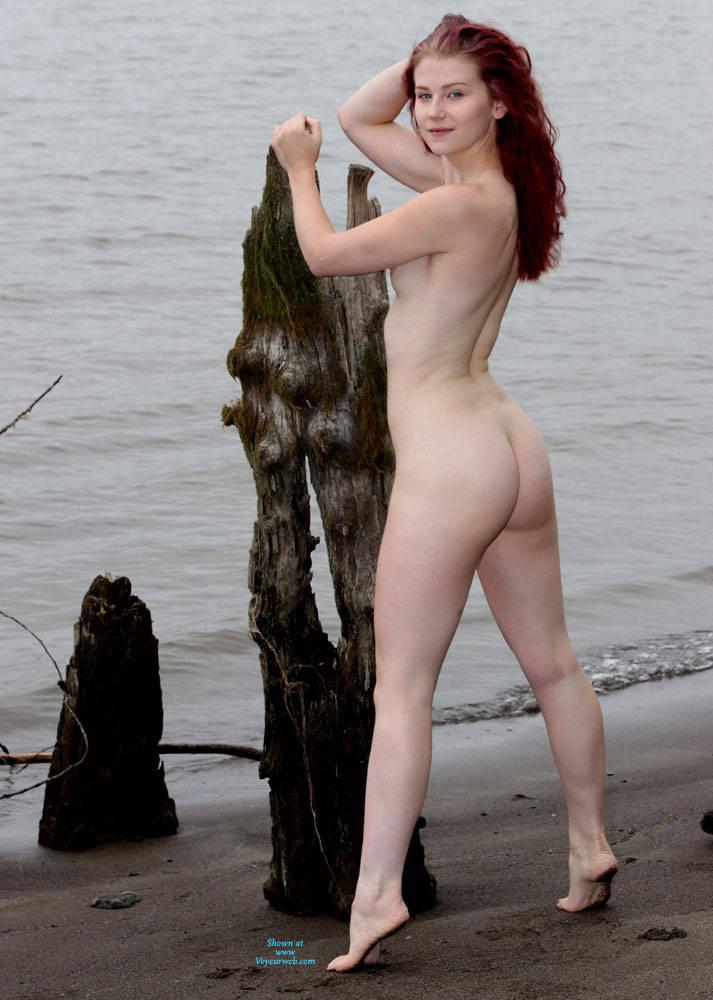 Pic #3 Beach Shoot - Nude Girls, Beach, Outdoors, Redhead, Amateur, Firm Ass