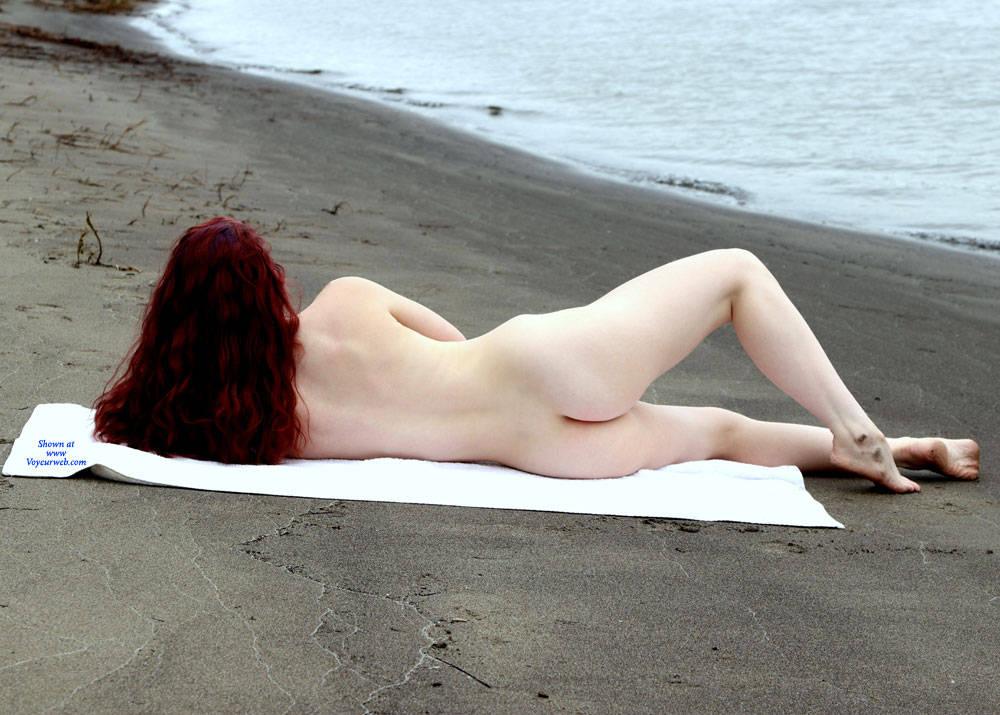 Pic #4 Beach Shoot - Nude Girls, Beach, Outdoors, Redhead, Amateur, Firm Ass