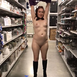 Very Seducing In The Store - Boots, Exposed In Public, Flashing, Full Nude, No Panties, Nude In Public, Shaved Pussy, Small Breasts, Small Tits, Naked Wife, Sexy Face, Sexy Girl, Sexy Legs, Sexy Wife, Amateur