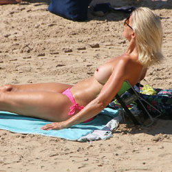 Hot Blonde On The Beach - Bikini, Exposed In Public, Nipples, Nude Beach, Nude In Public, Nude Outdoors, Showing Tits, Topless Beach, Topless Girl, Topless Outdoors, Topless, Beach Tits, Beach Voyeur, Sexy Body, Sexy Boobs, Sexy Feet, Sexy Girl, Sexy Legs
