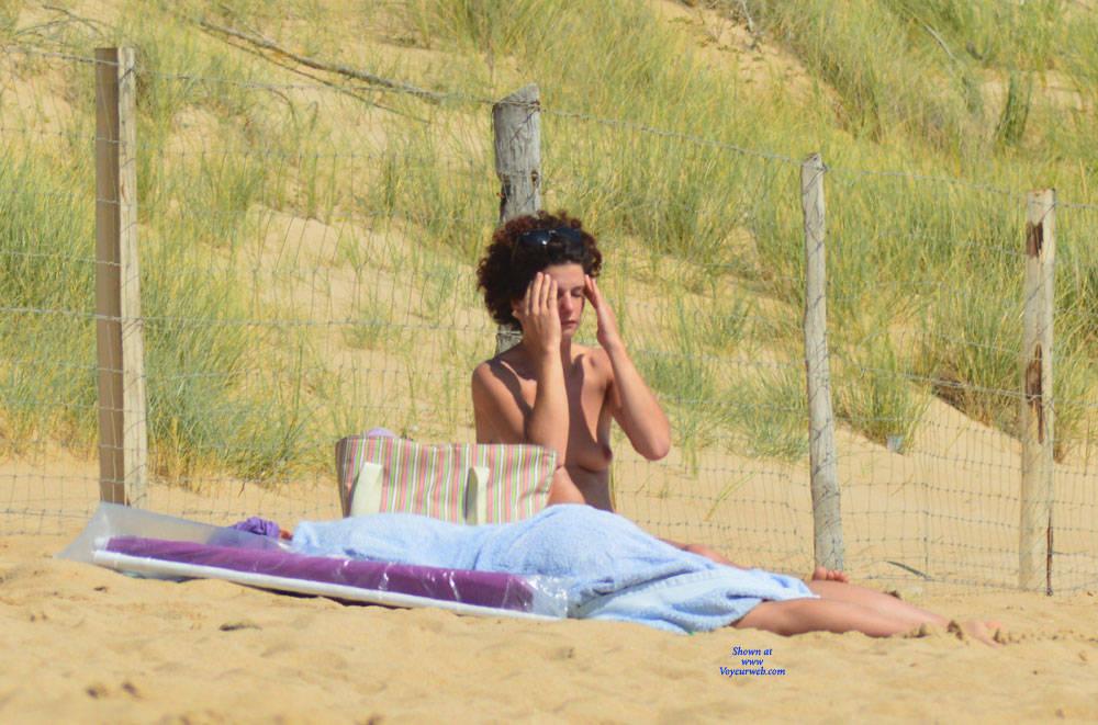 Pic #6 On The Beach In France - Same Girl - Beach, Outdoors, Medium Tits, Beach Voyeur