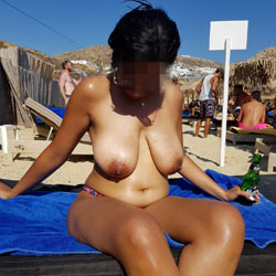 My Wife Feeling Hot At Public Beach 1 - Topless Wives, Beach, Big Tits, Outdoors, Amateur