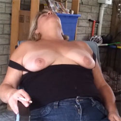 Heather Getting Excited On The Patio - Big Tits, Blonde, Outdoors, Amateur