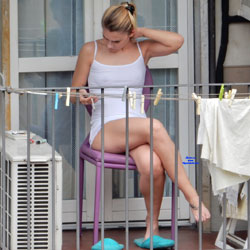 Upskirt On The Balcony - Outdoors, See Through, Voyeur Upskirts