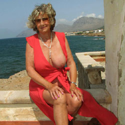 Jo Strips On Patio By The Sea - Nude Amateurs, Big Tits, Mature, Outdoors, Girls Stripping