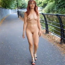Naked Walk - Nude Girls, Public Exhibitionist, Outdoors, Public Place, Redhead, Shaved, Amateur, Medium Tits