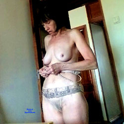 Undressing At The Kitchen Window - Topless Wives, Big Tits, Brunette, Mature, Amateur