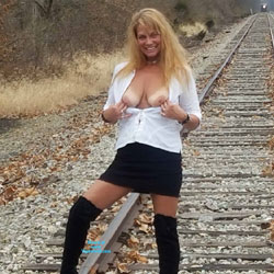 Flashing Tits In Railroad - Big Tits, Blonde Hair, Flashing Tits, Flashing, Nipples, Nude In Public, Nude Outdoors, Skirt, Stockings, Sexy Face, Amateur