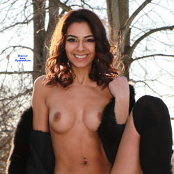 Sierra And Her Fur Coat On The Back Porch 2 - Big Tits, Brunette Hair, Nude Outdoors, Shaved, Amateur , Outdoors, Snow, Nude, Small Tits, Shaved Pussy,