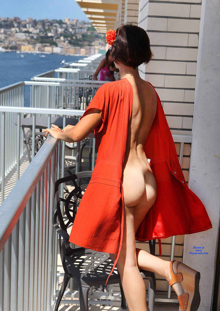 Pic #1 Balcony View - Nude Girls, Brunette, Public Exhibitionist, Flashing, Outdoors, Amateur, Firm Ass