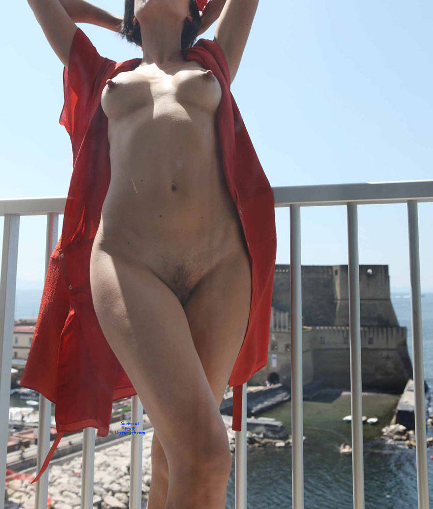 Pic #2 Balcony View - Nude Girls, Brunette, Public Exhibitionist, Flashing, Outdoors, Amateur, Firm Ass