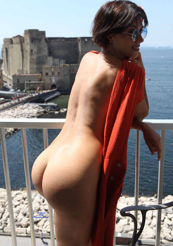 Pic #4 Balcony View - Nude Girls, Brunette, Public Exhibitionist, Flashing, Outdoors, Amateur, Firm Ass