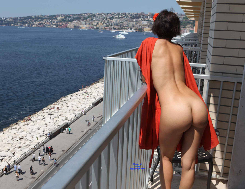Pic #5 Balcony View - Nude Girls, Brunette, Public Exhibitionist, Flashing, Outdoors, Amateur, Firm Ass