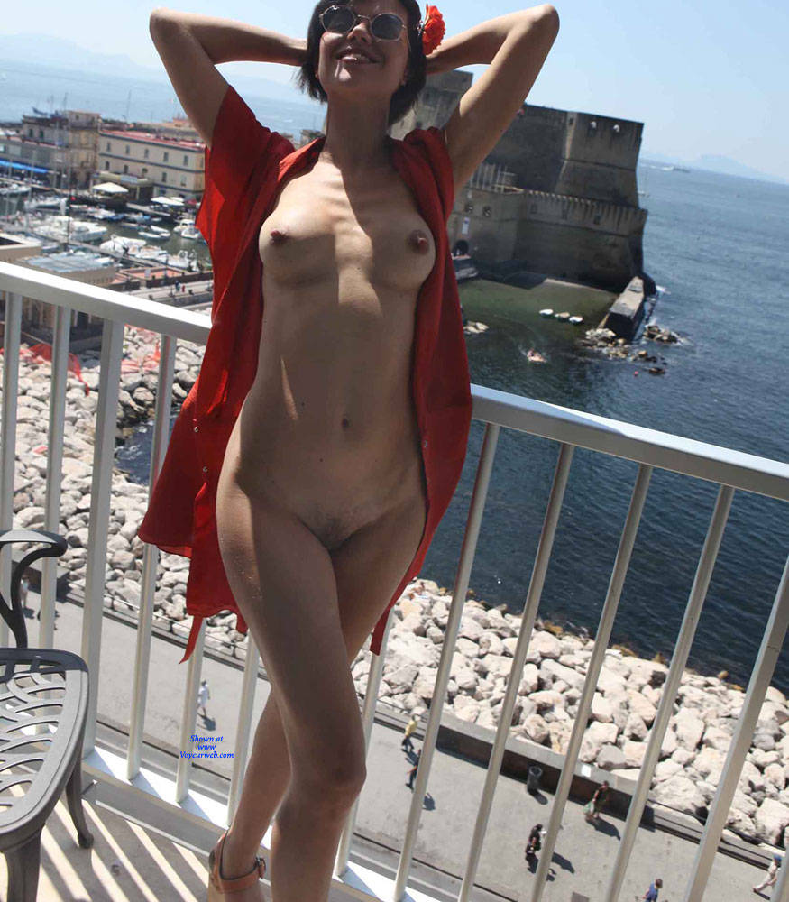 Pic #6 Balcony View - Nude Girls, Brunette, Public Exhibitionist, Flashing, Outdoors, Amateur, Firm Ass