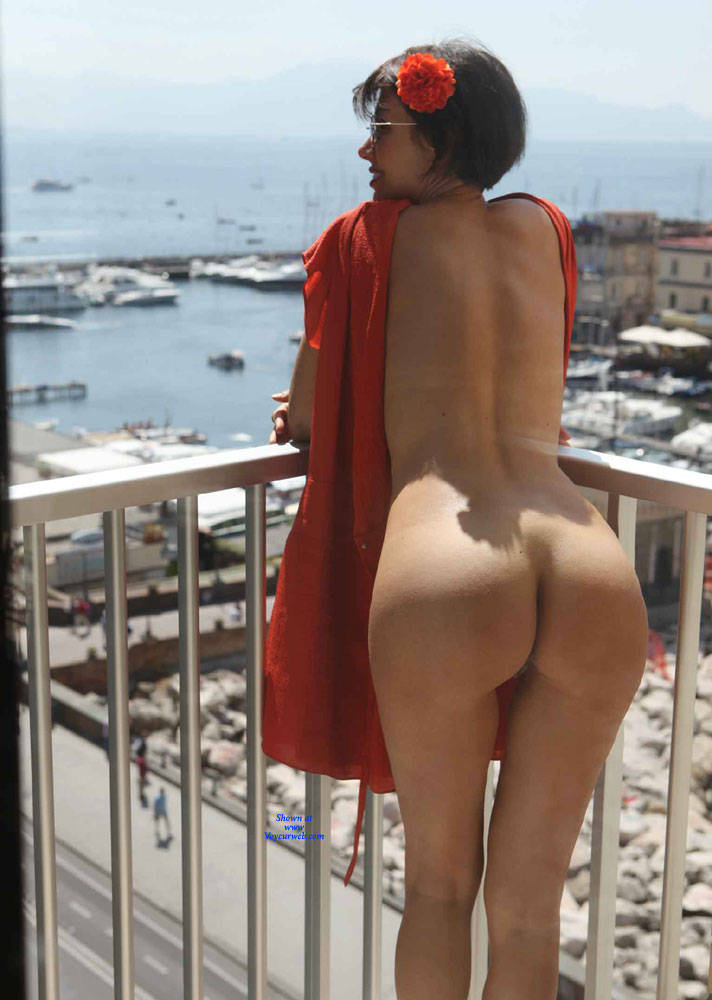 Pic #7 Balcony View - Nude Girls, Brunette, Public Exhibitionist, Flashing, Outdoors, Amateur, Firm Ass