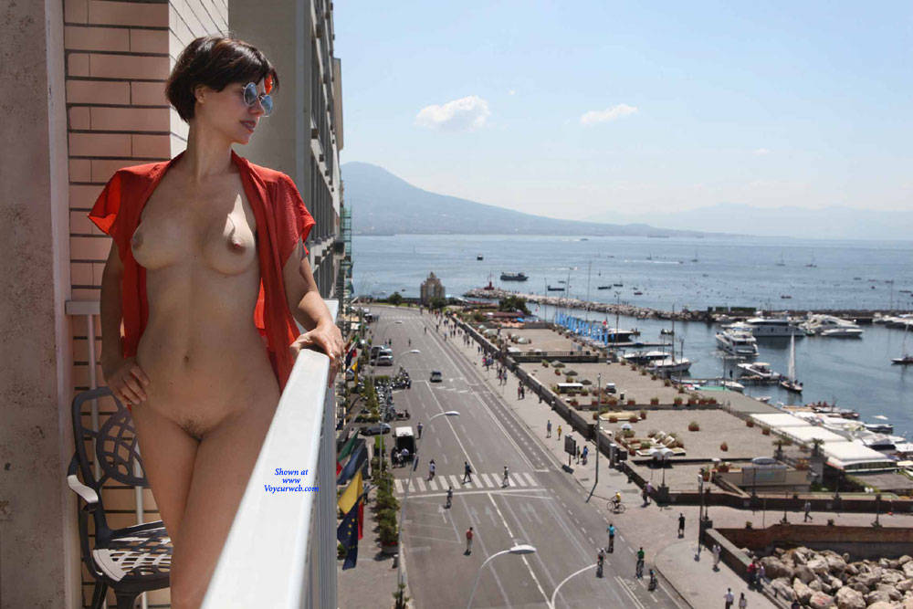Pic #8 Balcony View - Nude Girls, Brunette, Public Exhibitionist, Flashing, Outdoors, Amateur, Firm Ass