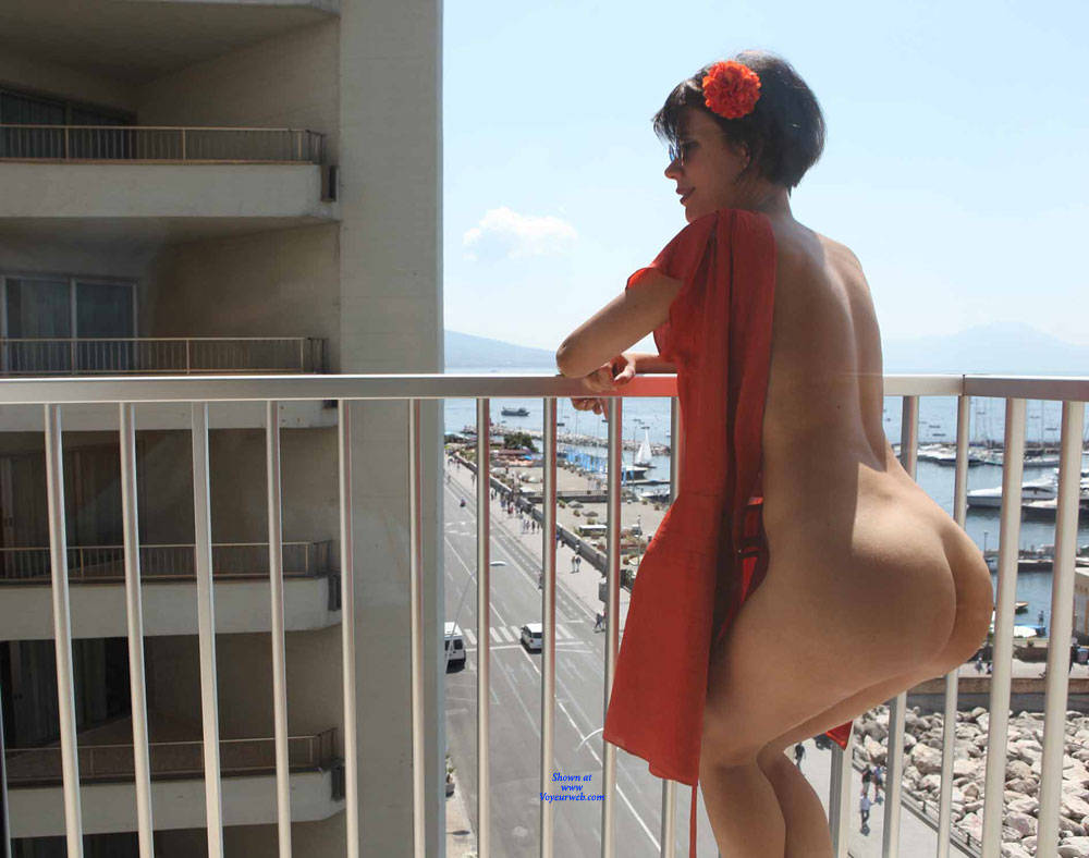 Pic #9 Balcony View - Nude Girls, Brunette, Public Exhibitionist, Flashing, Outdoors, Amateur, Firm Ass