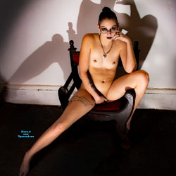 Her Body and Her Shadow - Brunette Hair, Chair, Full Nude, Natural Tits, Navel Piercing, Nipples, Shaved Pussy, Small Tits, Tattoo, Hot Girl, Nude Amateur, Sexy Body, Sexy Face, Sexy Figure, Sexy Girl, Sexy Legs, Amateur