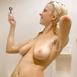Hot Blonde Shower Shaving - Blonde Hair, Full Nude, Huge Tits, Indoors, Large Breasts, Nipples, Wet, Hot Girl, Sexy Body, Sexy Boobs, Sexy Face, Sexy Figure, Sexy Girl, Sexy Legs