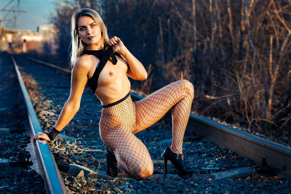 Train Rails , Outdoors, Fishnet Stockings, Natural Tits, Shaved Pussy, Big Ass, Firm Ass