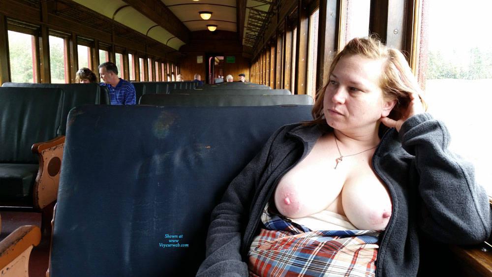 Pic #1 Train Ride - Big Tits, Public Exhibitionist, Flashing, Public Place, Amateur, Wife/wives