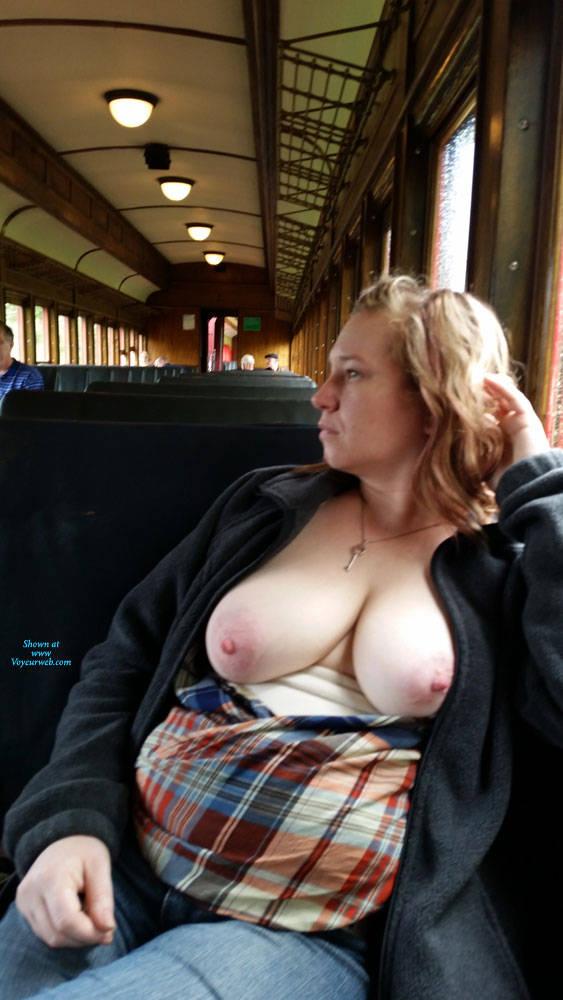 Pic #2 Train Ride - Big Tits, Public Exhibitionist, Flashing, Public Place, Amateur, Wife/wives
