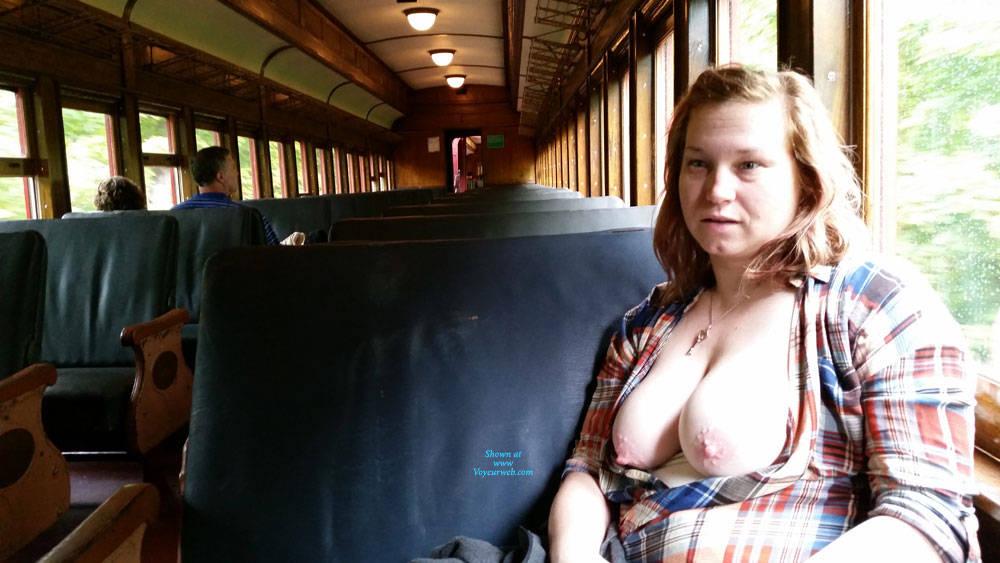 Pic #3 Train Ride - Big Tits, Public Exhibitionist, Flashing, Public Place, Amateur, Wife/wives