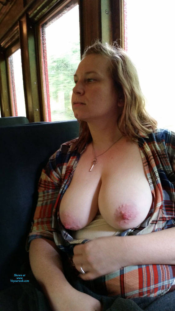 Pic #4 Train Ride - Big Tits, Public Exhibitionist, Flashing, Public Place, Amateur, Wife/wives