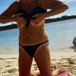 Putting The Bathing Suit Back On - Beach, Big Tits, Mature, Outdoors, Amateur