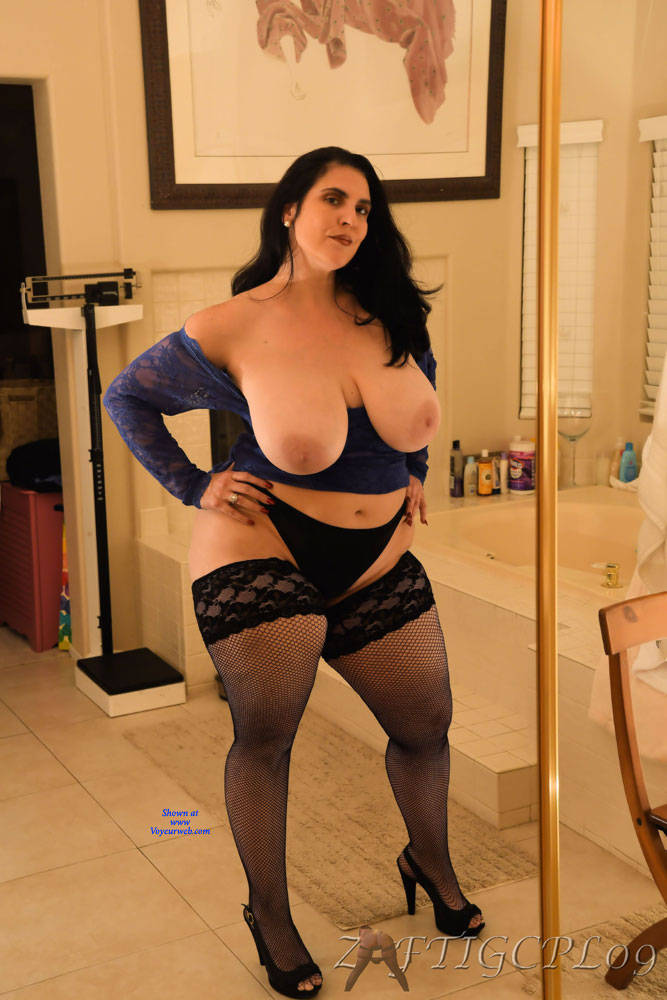 Pic #3 Mrs. Zaftig Spread For The Camera - Wives In Lingerie, Big Tits, Brunette, High Heels Amateurs, Mature, Bush Or Hairy, Stockings Pics